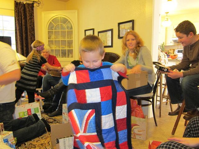 Christmas 2012 - Miles and his British blanket