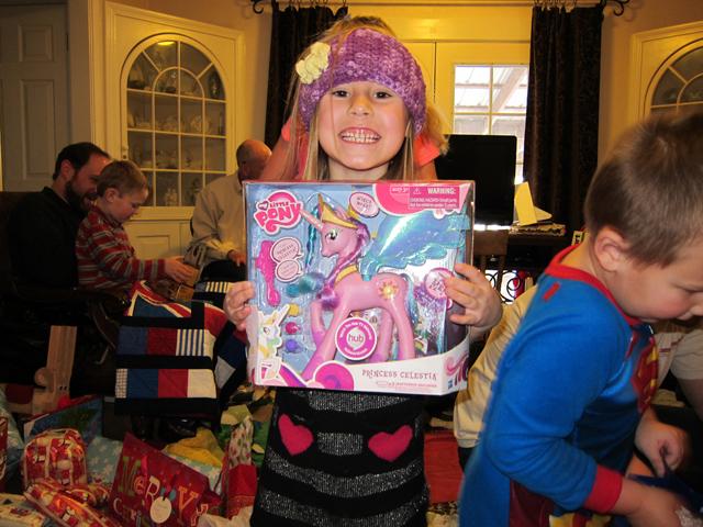 Christmas 2012 - Savanna and her huge pink pony princess