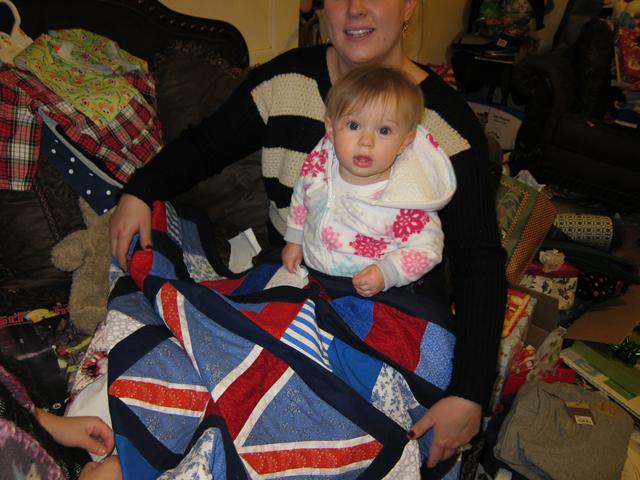 Christmas 2012 - Adi getting her British blanket